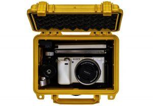 boitier pelican contenant un appareil photo